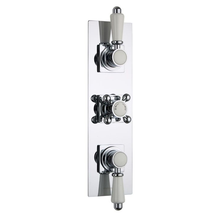 Traditional Concealed 3 Outlet Triple with Diverter Thermostatic Shower Valve (Slim Trim Plate)