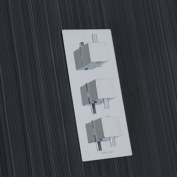Square Concealed 3 Outlet Triple with Diverter Thermostatic Shower Valve