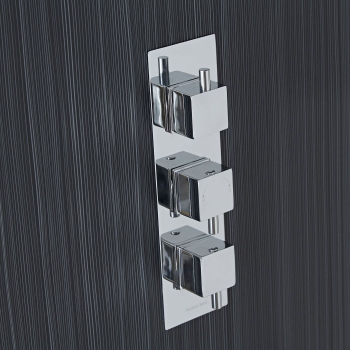 Square Concealed 2 Outlet Triple Thermostatic Shower Valve (Slim Plate)