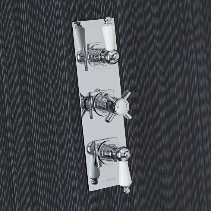 Beaumont Concealed 3 Outlet Triple with Diverter Thermostatic Shower Valve (Slim Trim Plate)