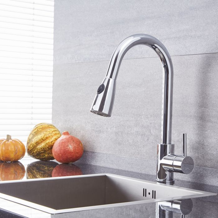 Quest - Single-Hole Pull-Down Kitchen Faucet - Multiple Finishes Available