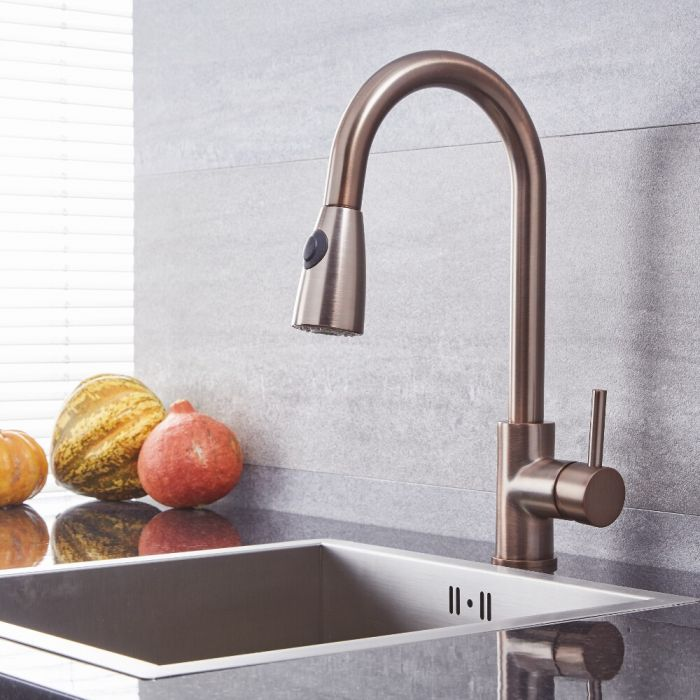 Quest - Oil-Rubbed Bronze Single-Hole Pull-Down Kitchen Faucet