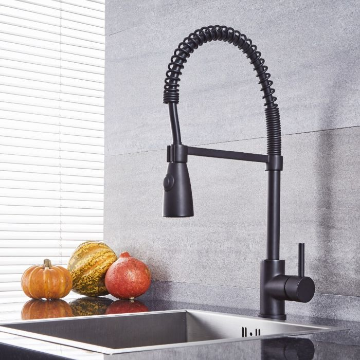 Quest - Black Kitchen Faucet with Spring Spout