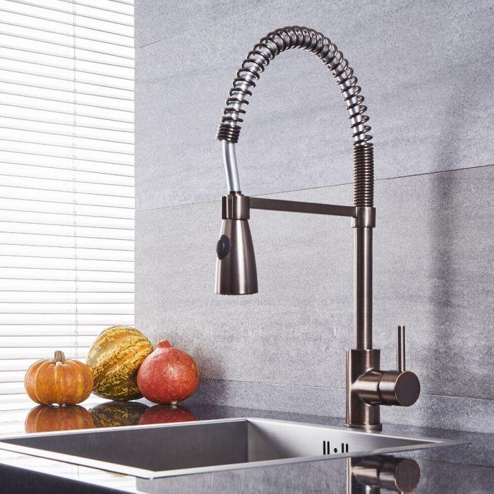 Quest - Oil-Rubbed Bronze Kitchen Faucet with Spring Spout