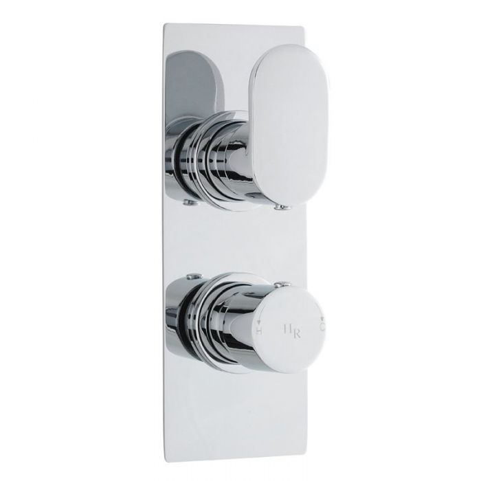 Reign Concealed Thermostatic Twin Shower Faucet Valve with Diverter 2 Outlet Options - Rectangle - Chrome Finish