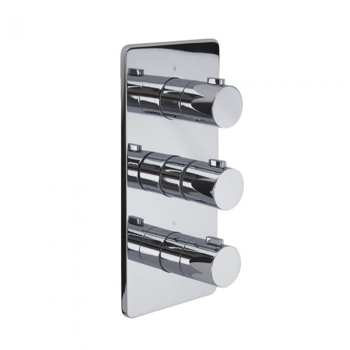 Arcadia - Chrome Triple Thermostatic Shower Valve - Two Outlets