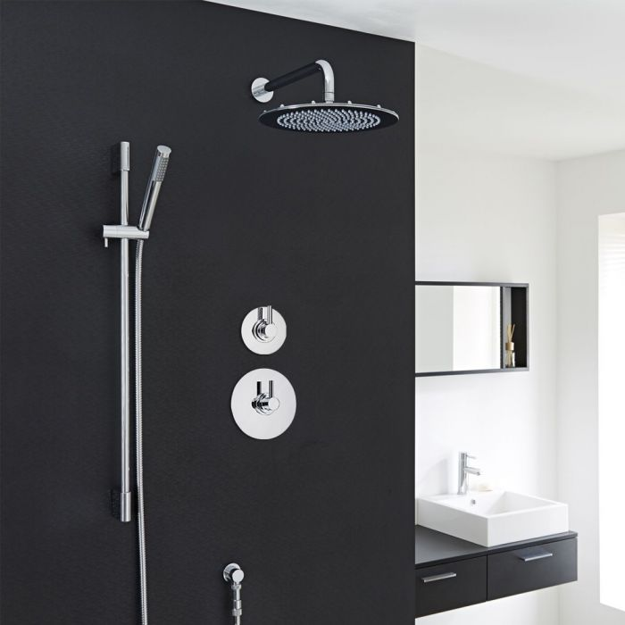 Modern 2-Outlet Shower System with Round Head, Hand Shower & Diverter Valve