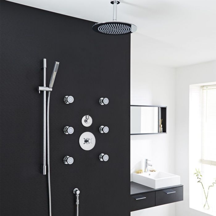 Modern 3-Outlet Shower System with Round Head, Body Jets & Diverter Valve