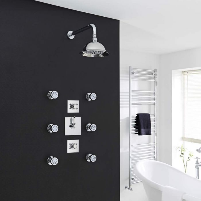"""Traditional 2-Outlet Shower System with 8"""" Rose Head, Body Jets & Shut-Off Valves"""