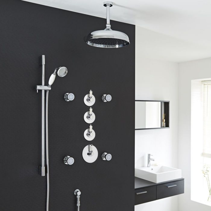 "Traditional Shower System with 12"" Apron Head, Body Jets & Shut-Off Valves"