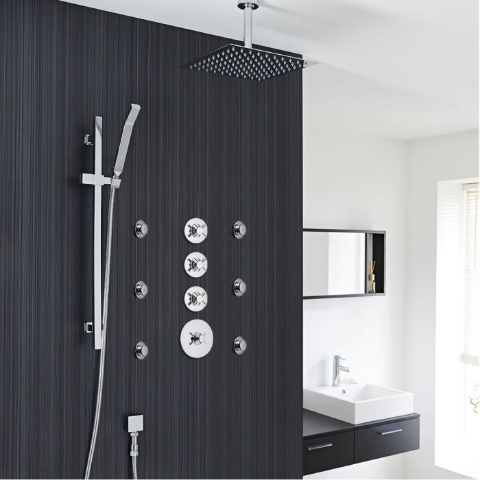 """3-Outlet Shower System with 12"""" Square Head, Body Jets & Shut-Off Valves"""