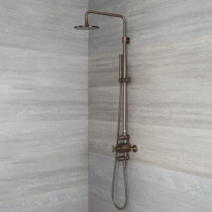 Tec - Oil-Rubbed Bronze Exposed Pipe Shower Column