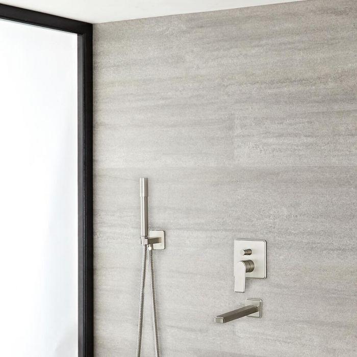 Eclipse Brushed Nickel Shower System with Handshower and Tub Filler