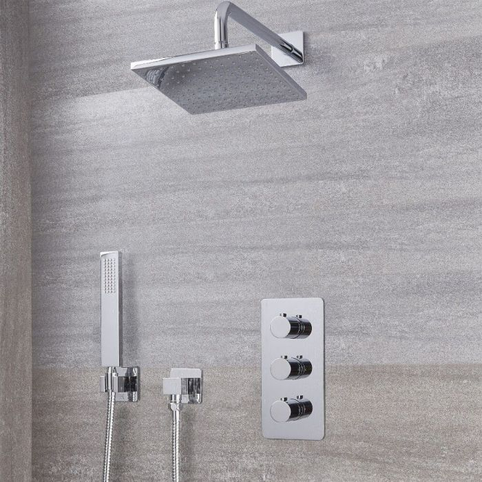 "Arcadia Thermostatic Shower System with 8"" Shower Head and Handshower - Available in Multiple Finishes"