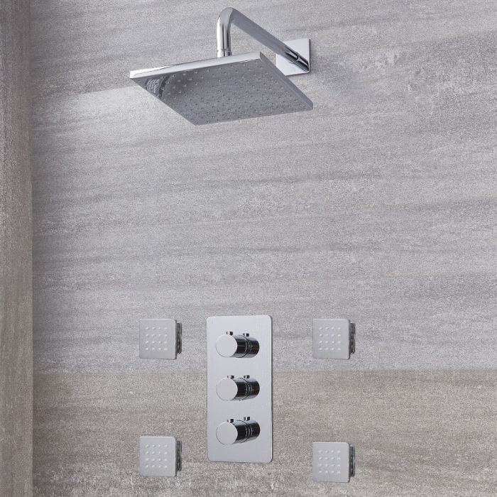 """Arcadia Thermostatic Chrome Shower System with 8"""" Shower Head and 4 Body Sprays"""