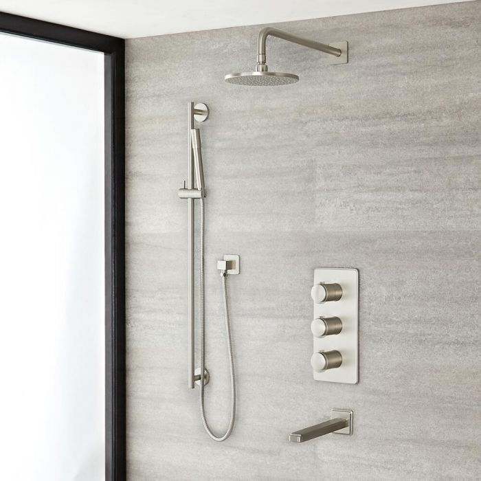 """Eclipse Thermostatic Brushed Nickel Shower System with 8"""" Shower Head, Slide Rail Kit and Tub Spout"""
