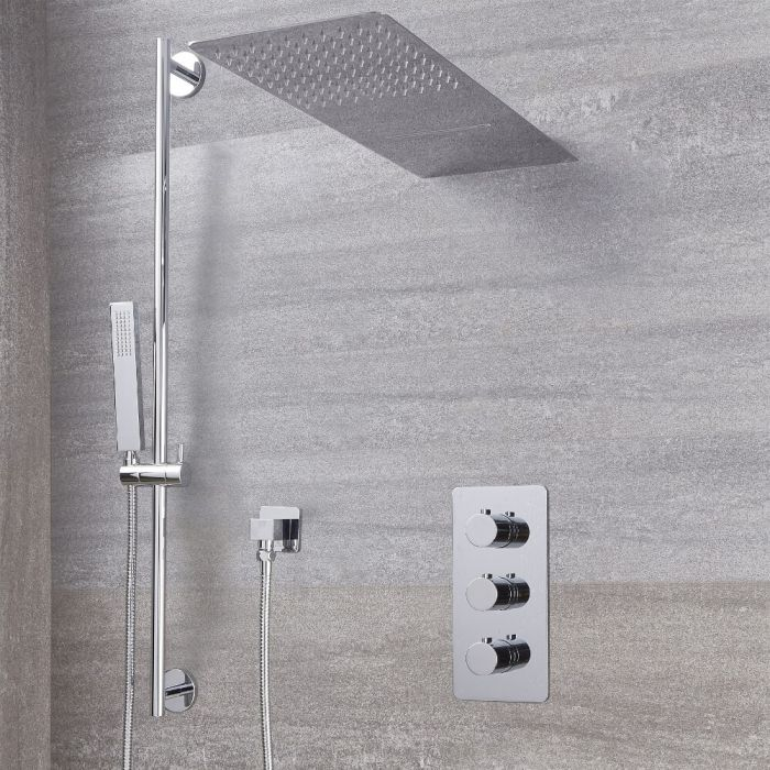 Arcadia Thermostatic Chrome Shower System with Waterfall Head and Slide Rail kit