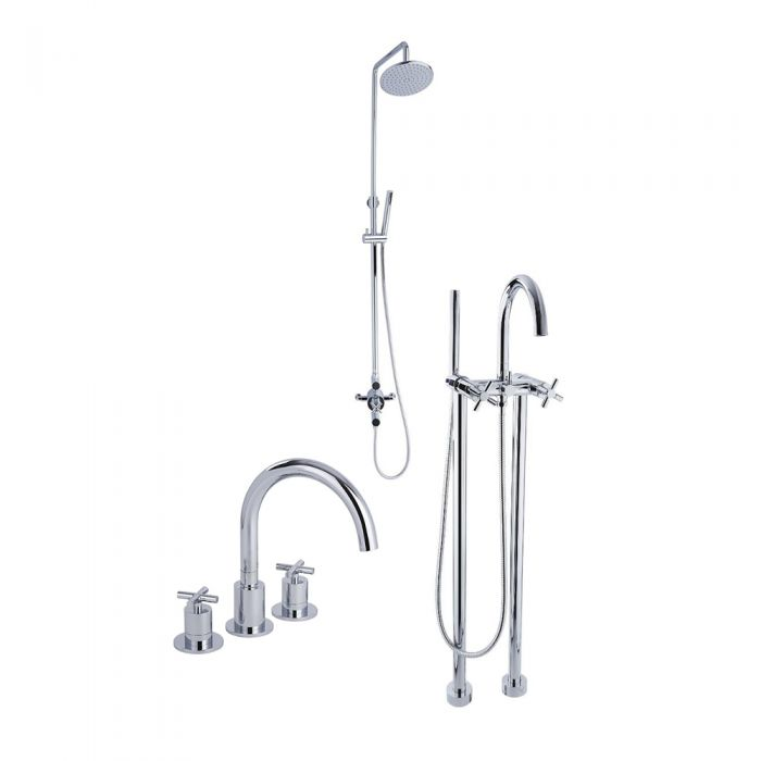 Tec - Modern Shower, Tub and Sink Faucet Collection - Chrome
