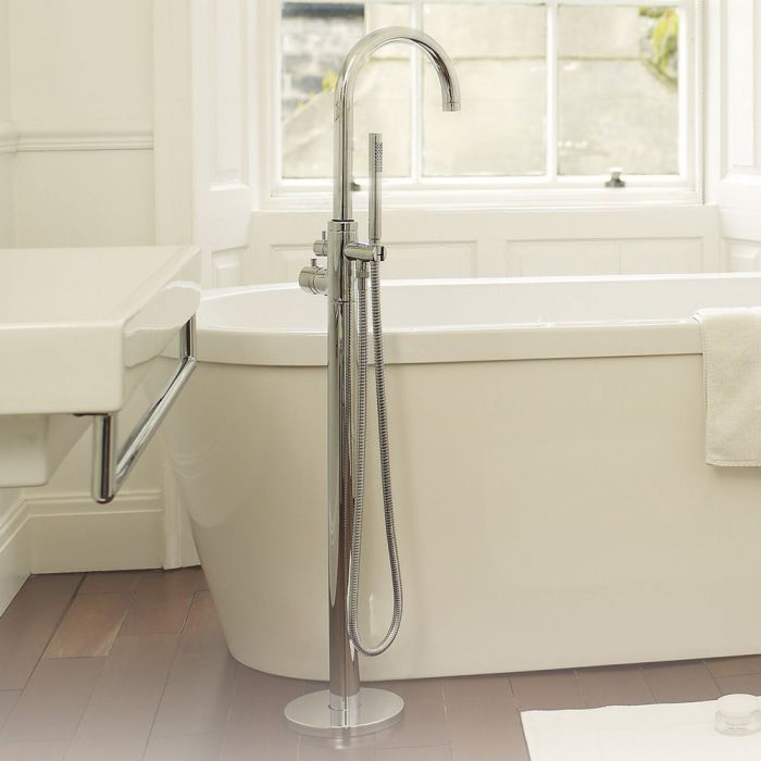 Single Control Floor Mounted Thermostatic Tub Shower Faucet