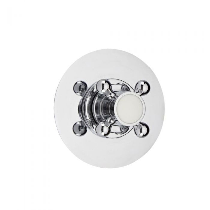 3-Way Diverter Shower Valve with Round Plate and Traditional Crosshead Handle