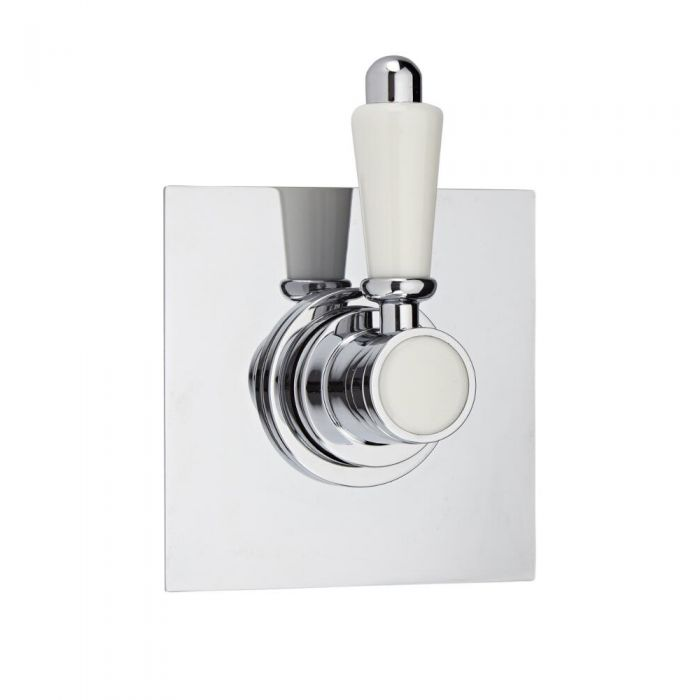 3-Way Diverter Shower Valve with Square Plate and Traditional Lever Handle