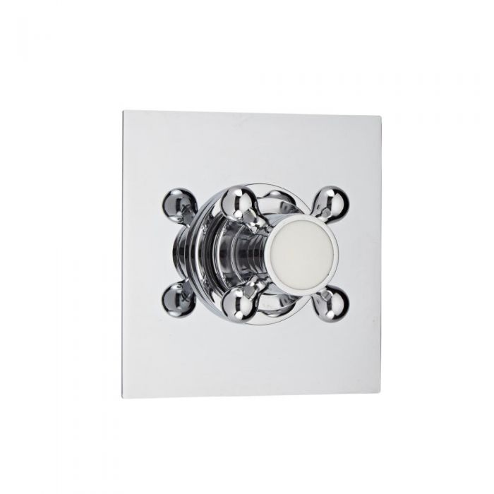 Shut-Off Shower Valve with Square Plate and Traditional Crosshead Handle