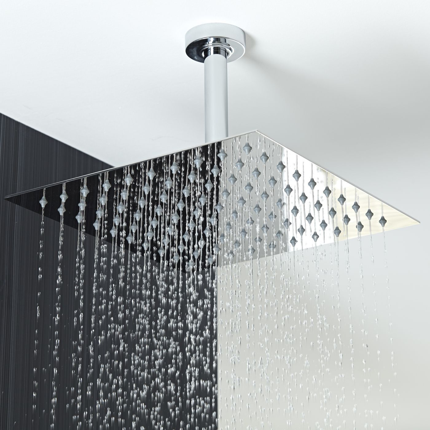 12 Square Shower Head With Round Ceiling Arm