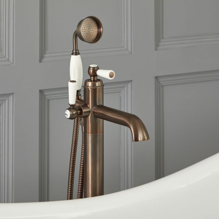 Elizabeth - Traditional Freestanding Lever Handle Tub Faucet with Hand Shower - Multiple Finishes Available