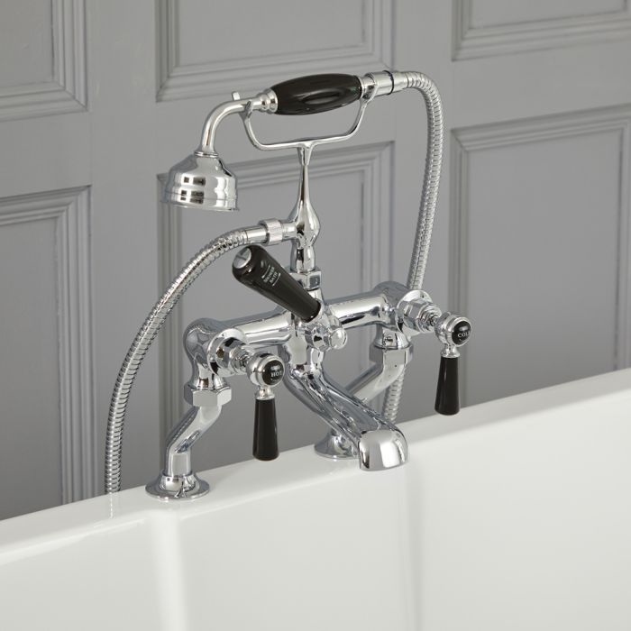 Elizabeth - Traditional Deck Mount Lever Handle Tub Faucet with Telephone Style Hand Shower – Chrome and Black