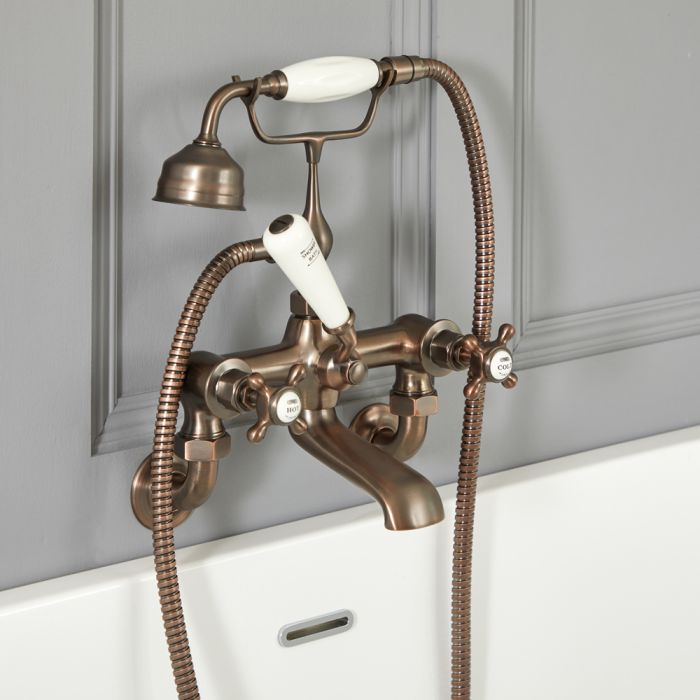 Elizabeth - Traditional Wall Mounted Cross Handle Tub Faucet with Telephone Style Hand Shower - Multiple Finishes Available