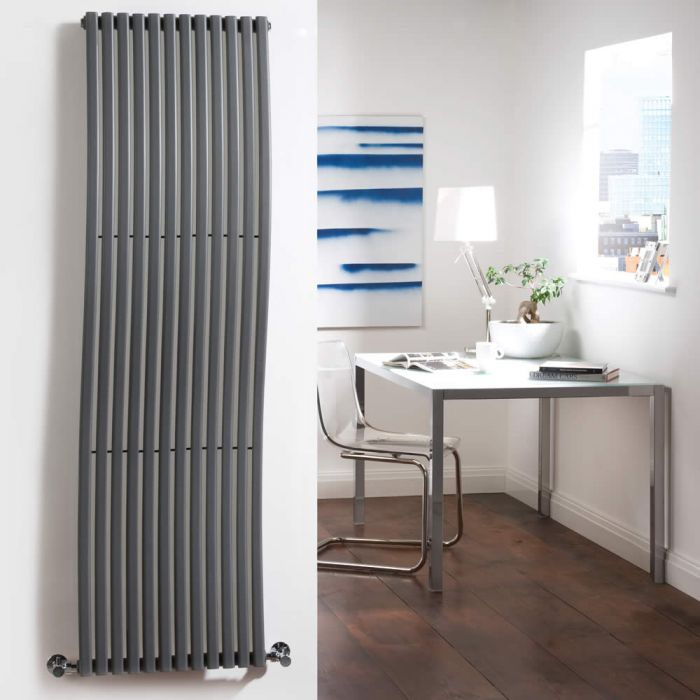 "Wave - Anthracite Vertical Single-Panel Designer Radiator - 63"" x 18"""
