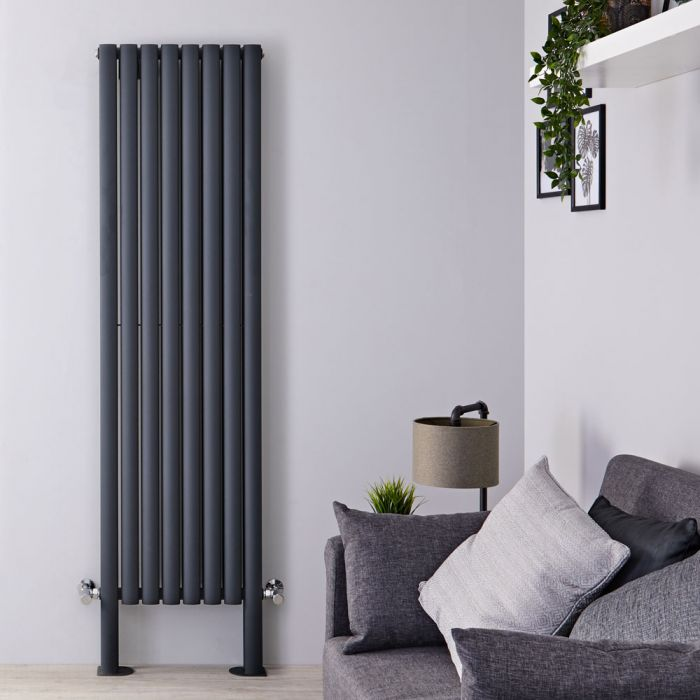 "Revive Plus - Anthracite Vertical Double-Panel Designer Radiator - 70.75"" x 18.5"""