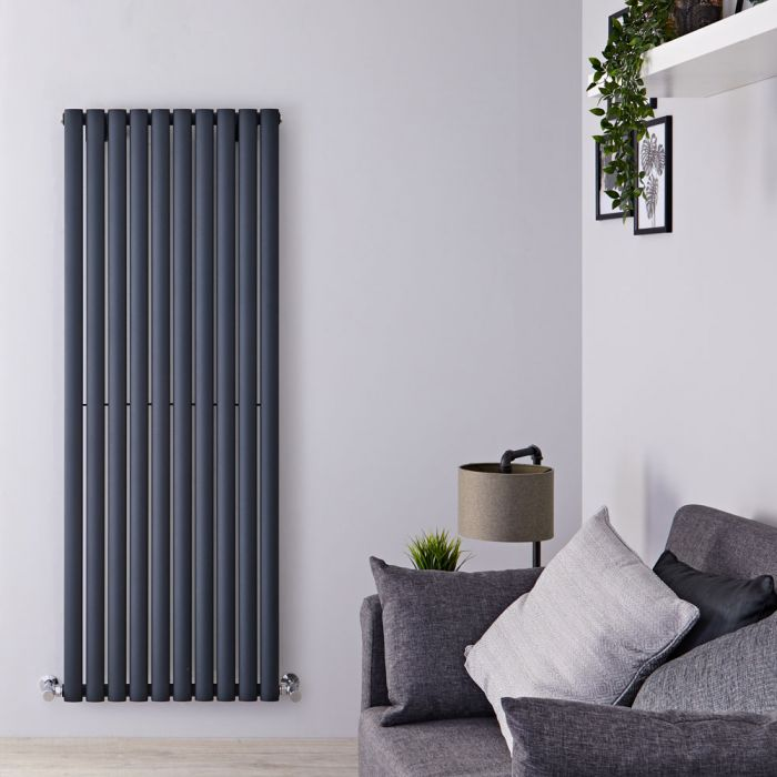 "Revive - Anthracite Vertical Single-Panel Designer Radiator - 63"" x 23.25"""