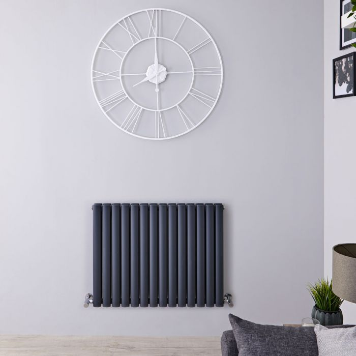 "Revive - Anthracite Horizontal Double-Panel Designer Radiator - 25"" x 32.75"""
