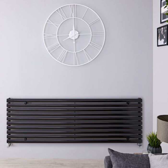 "Revive - Black Horizontal Single-Panel Designer Radiator - 23.25"" x 63"""