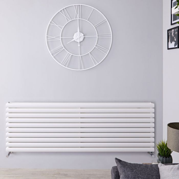 "Revive - White Horizontal Double-Panel Designer Radiator - 23.25"" x 63"""