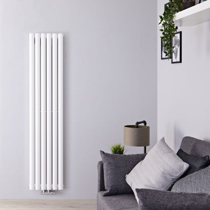 "Revive Caldae - White Vertical Double-Panel Designer Radiator - 63"" x 14"""