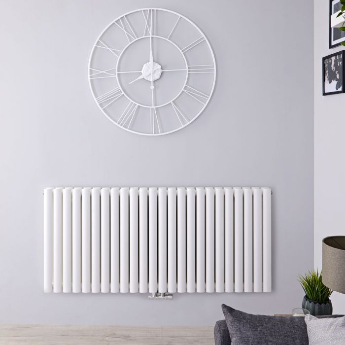 "Revive Caldae - White Horizontal Double-Panel Designer Radiator - 25"" x 55.5"""