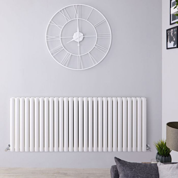 "Revive - White Horizontal Double-Panel Designer Radiator - 25"" x 64.75"""
