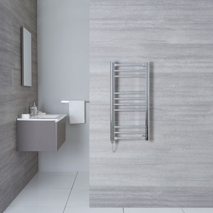"Eco Electric - Chrome Curved Heated Towel Warmer - 31.5"" x 15.75"""