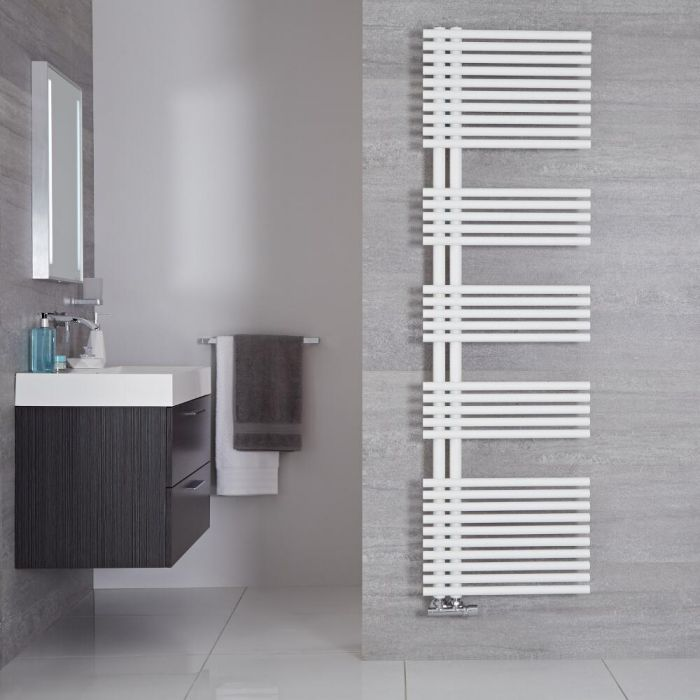 """Iseo - Mineral White Hydronic Designer Towel Warmer - 67"""" x 19.75"""""""