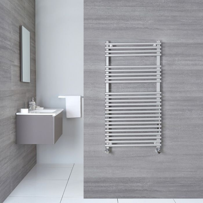 "Ischia - Hydronic Chrome Heated Towel Warmer - 45.25"" x 17.75"""