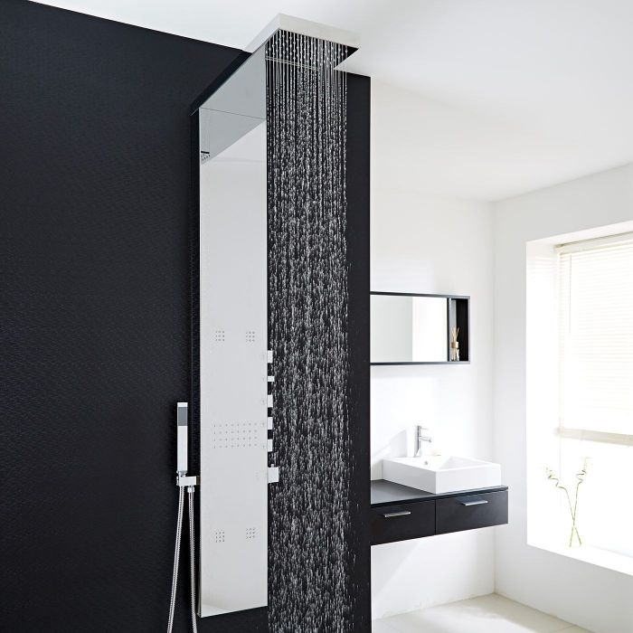 Chrome Exposed Thermostatic Waterfall Shower Panel