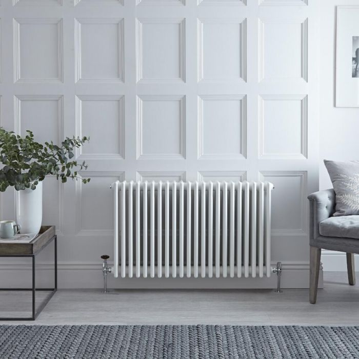 "Regent - White Horizontal 4-Column Traditional Cast-Iron Style Radiator - 23.5"" x 39"""