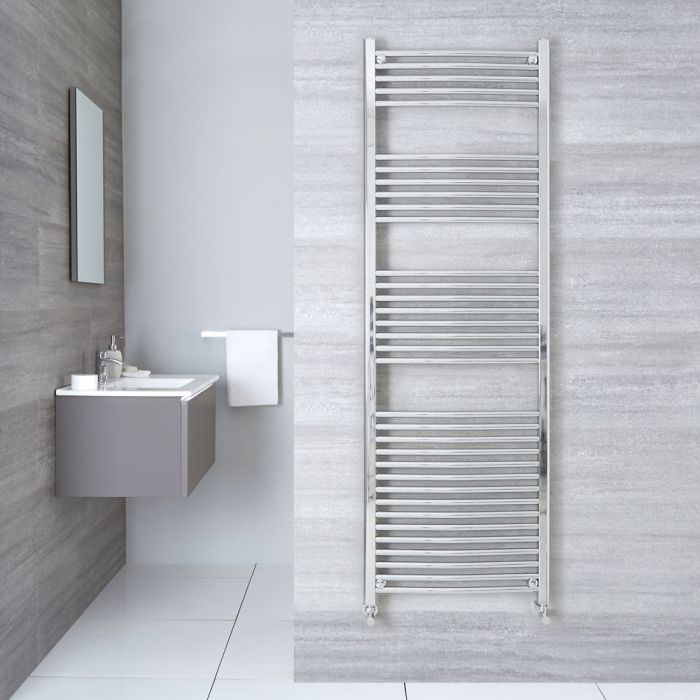 "Linosa - Hydronic Chrome Curved Heated Towel Warmer - 70.75"" x 19.75"""