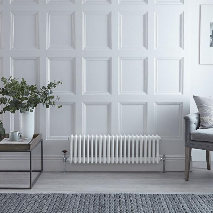 "Regent - White Horizontal 3-Column Traditional Cast-Iron Style Radiator - 11.75"" x 40"""