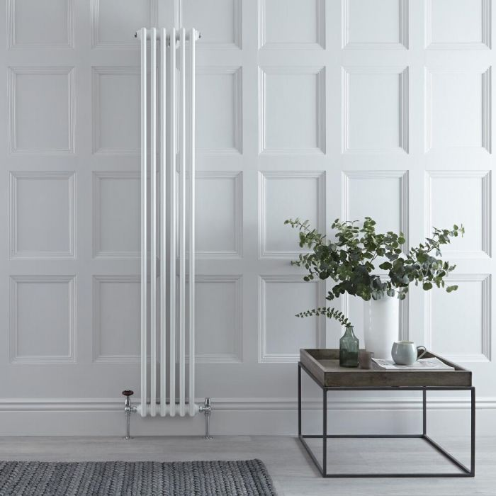 "Regent - White Vertical 3-Column Traditional Cast-Iron Style Radiator - 70.75"" x 11.5"""