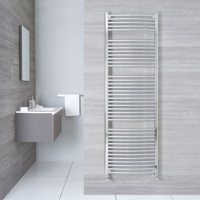 """Etna - Hydronic Chrome Curved Heated Towel Warmer - 70.75"""" x 23.5"""""""