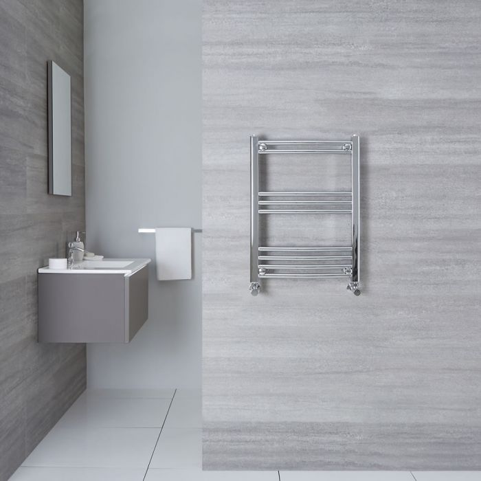 """Etna - Hydronic Chrome Curved Heated Towel Warmer - 27.5"""" x 15.75"""""""