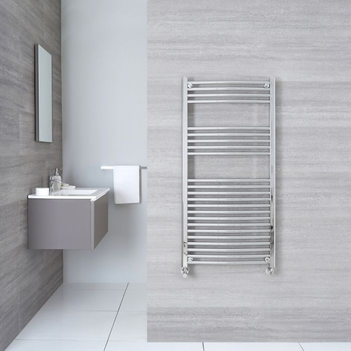 """Etna - Hydronic Chrome Curved Heated Towel Warmer - 47.25"""" x 19.75"""""""